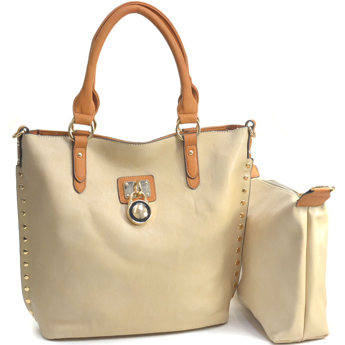 Lock Accented Faux Leather Tote Bag with Additional Detachable Makeup Bag