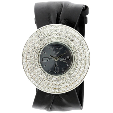 Faux Leather Rhinestone Encircled Bracelet Watch