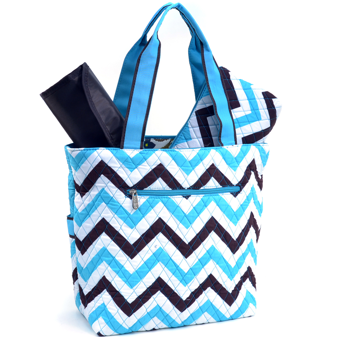 Rosen Blue® Quilted Chevron 3Piece Diaper Tote