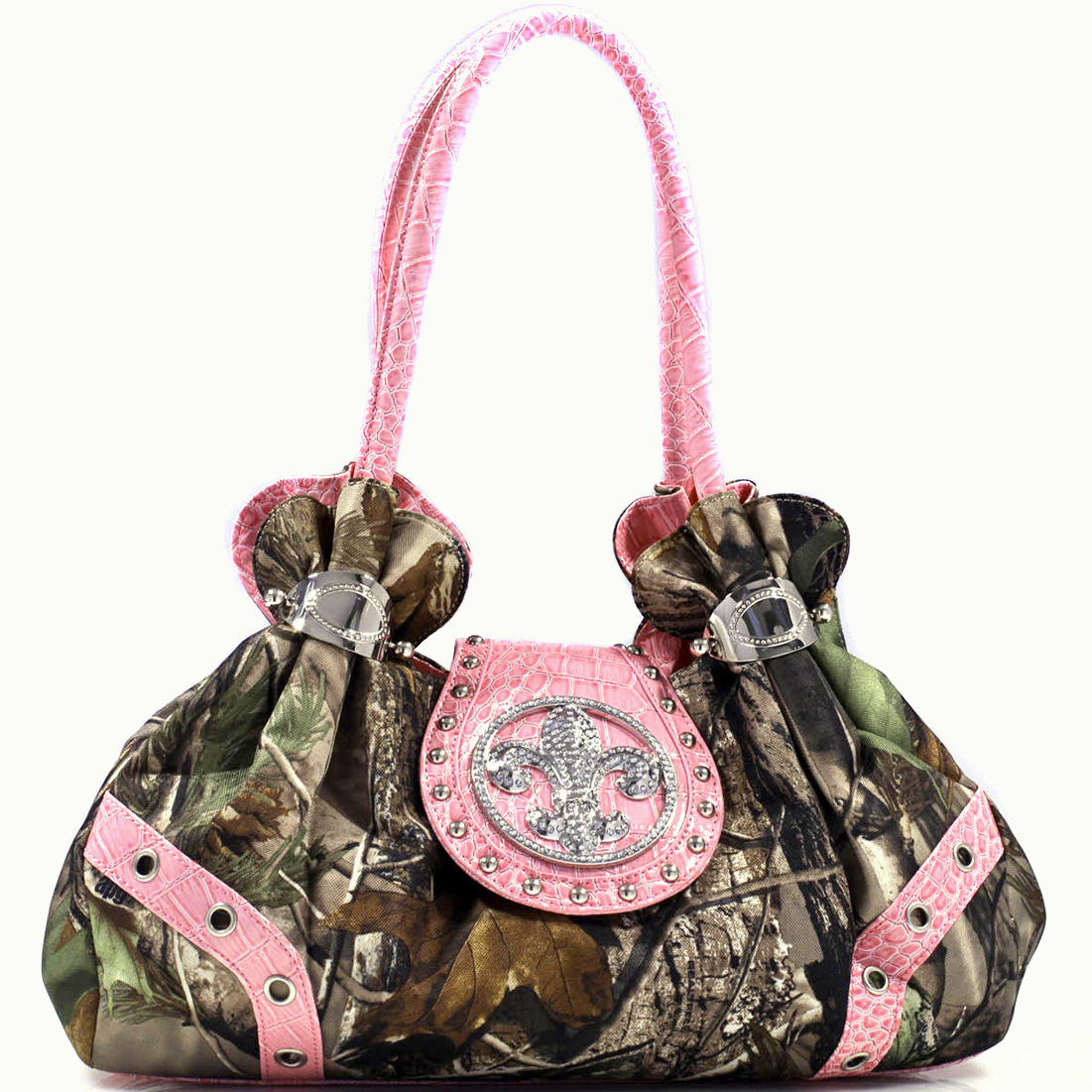 Realtree Women's Studded Camouflage Satchel Bag With Rhinestone Fleur De Lis -Camouflage/L.Pink