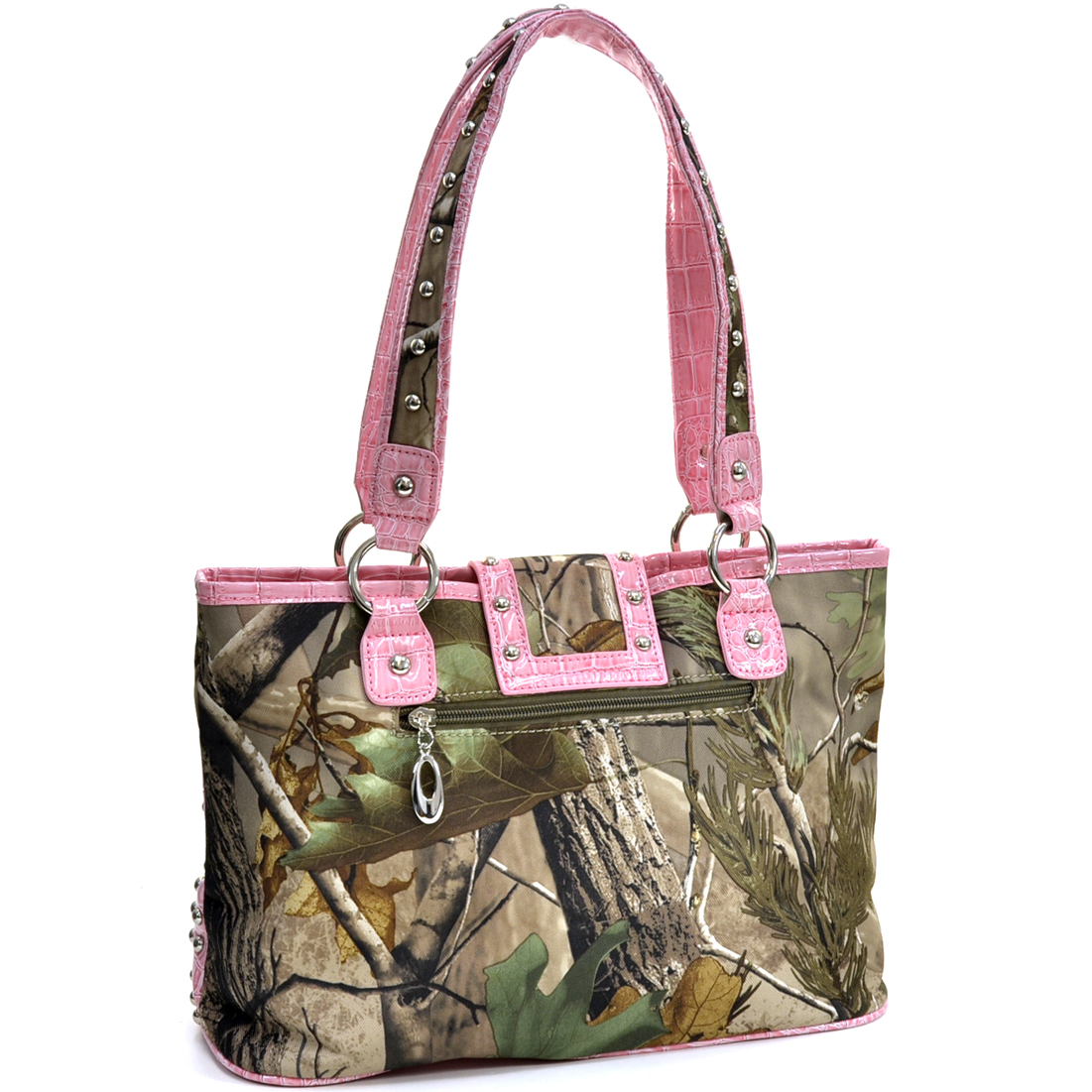 Realtree ® XG Camo Studded Tote Bag with Croco Trim and Buckle Accent