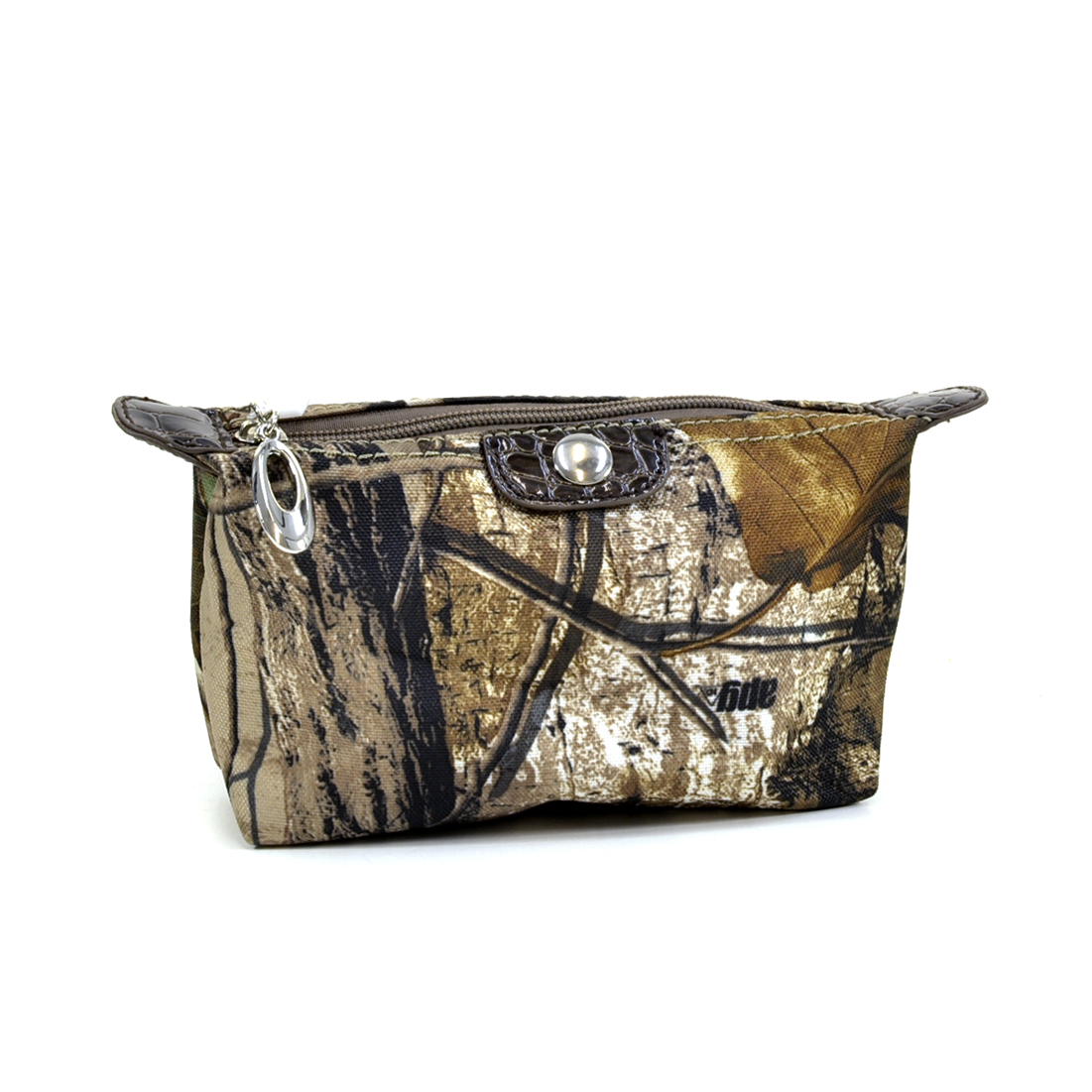 Realtree® Camouflage Fabric Cosmetic Bag w/ Faux Leather Trim - Camouflage/Coffee Trim