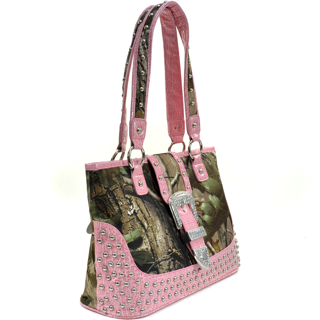 Realtree® Camo Studded Tote Bag with Croco Trim and Buckle Accent