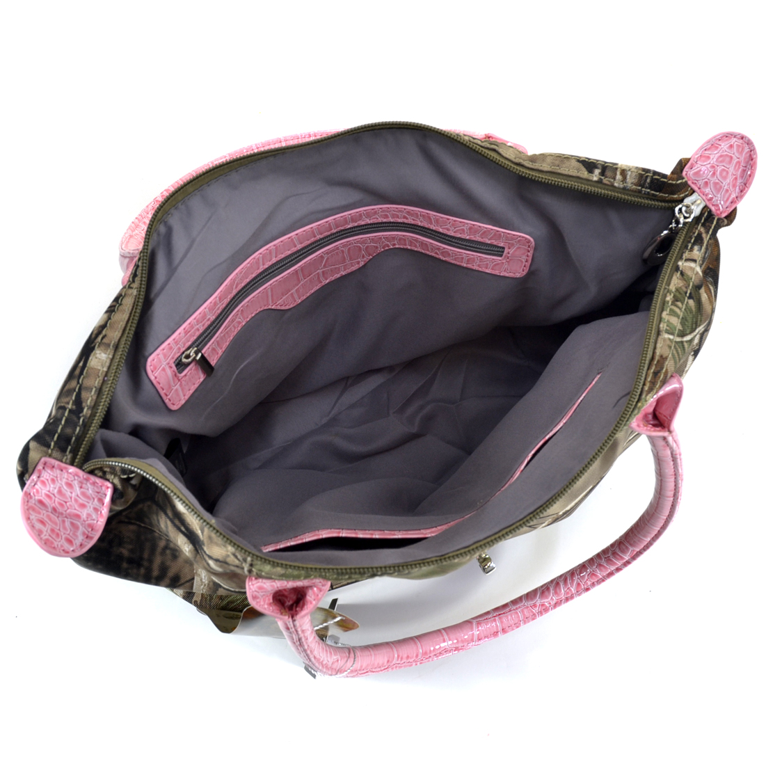 Realtree ® camouflage tote bag with twist lock accent and pink trim - Camouflage/Coffee