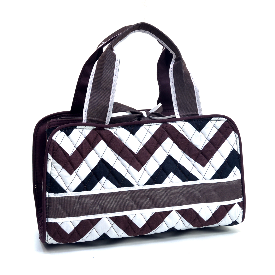 Rosen Blue Chevron Print Quilted Classic Cosmetic Case
