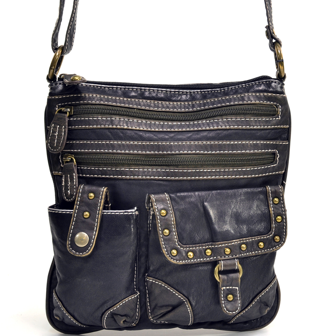 Washed Effect Distressed Messenger Bag