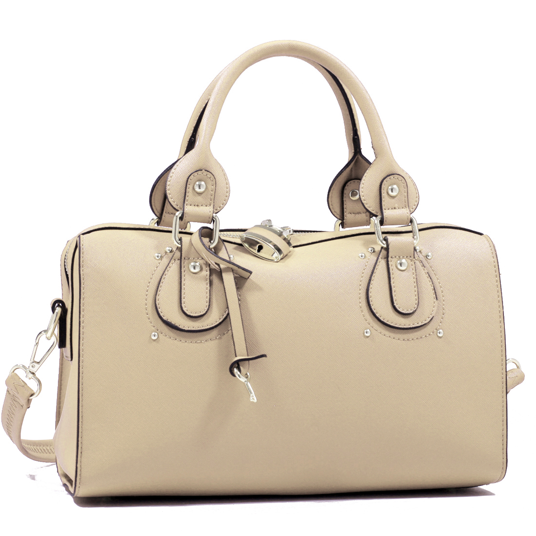 Gold Tone Padlock and Key Barrel Design Flat Bottom Fashion Handbag