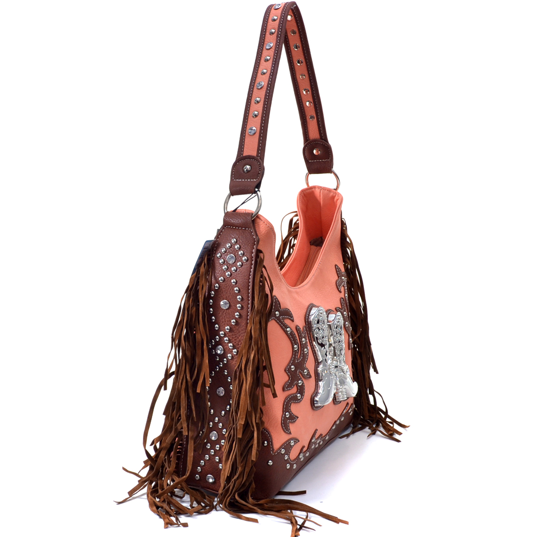 Western Cowgirl Fringed Boots and Rhinestones Studded Shoulder Tote Bag