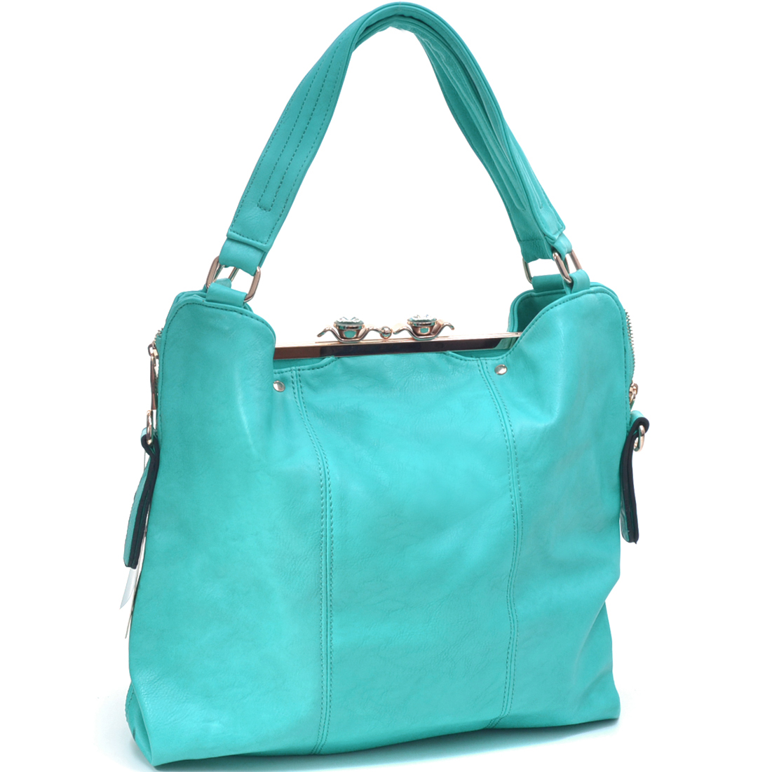 Jewel Fashion Snap Close Clutch Combo Tote Bag
