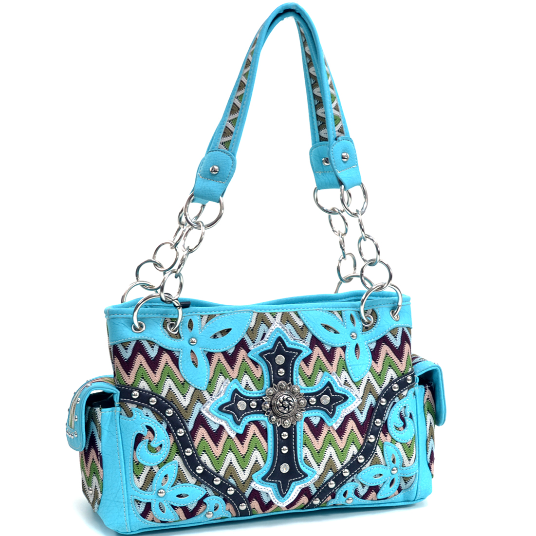 Western Style Cross Studded Concho Crochet Fabric Shoulder Bag