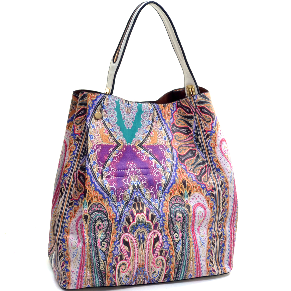 Paisley Printed Snap Flat Bottom Tote with Adjustable Removable Shoulder Strap