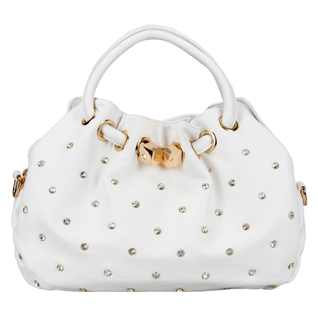 Rhinestone Studded Slouch Shoulder Bag with Removable Adjustable Shoulder Strap