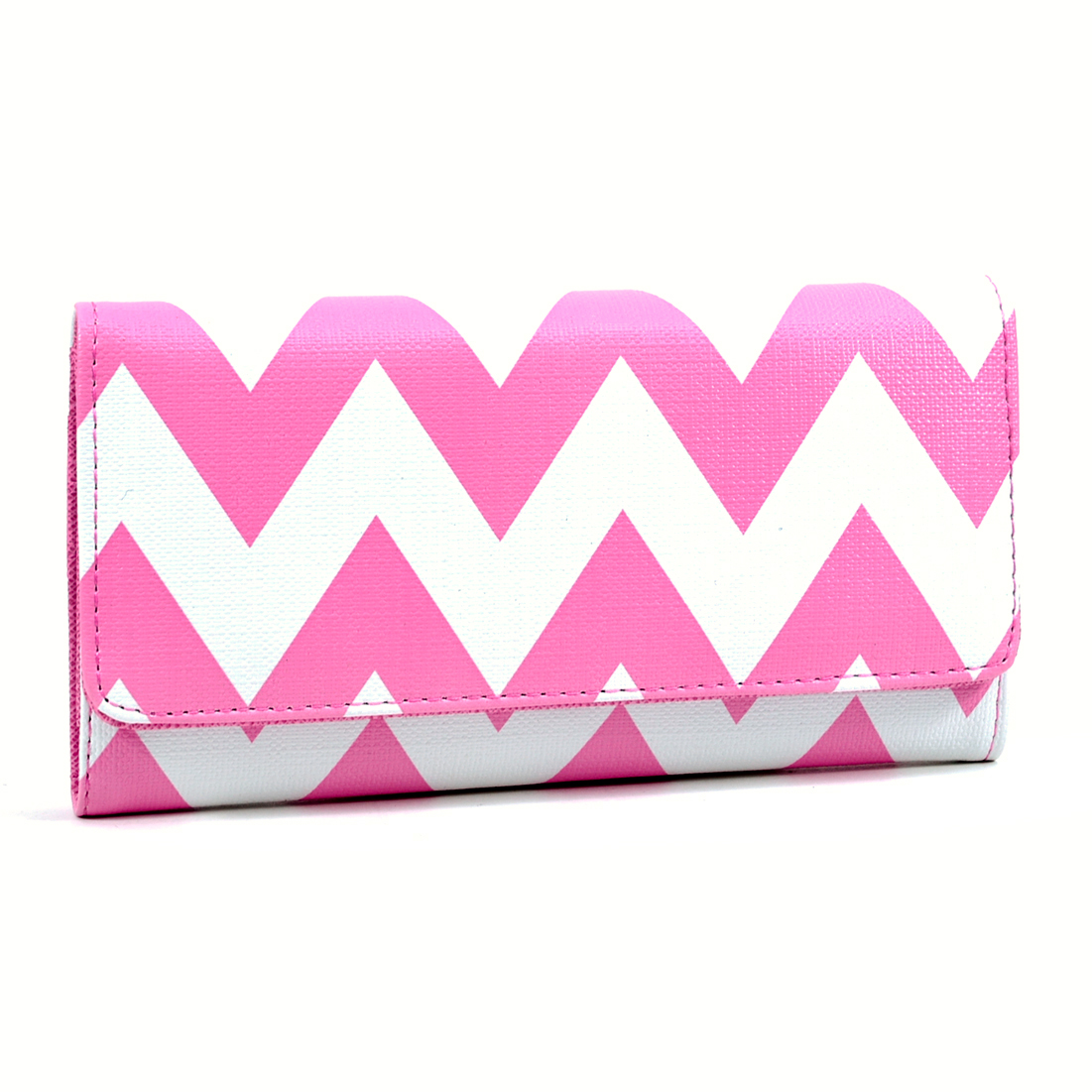 Chevron Tri Fold Snap Closure Wallet