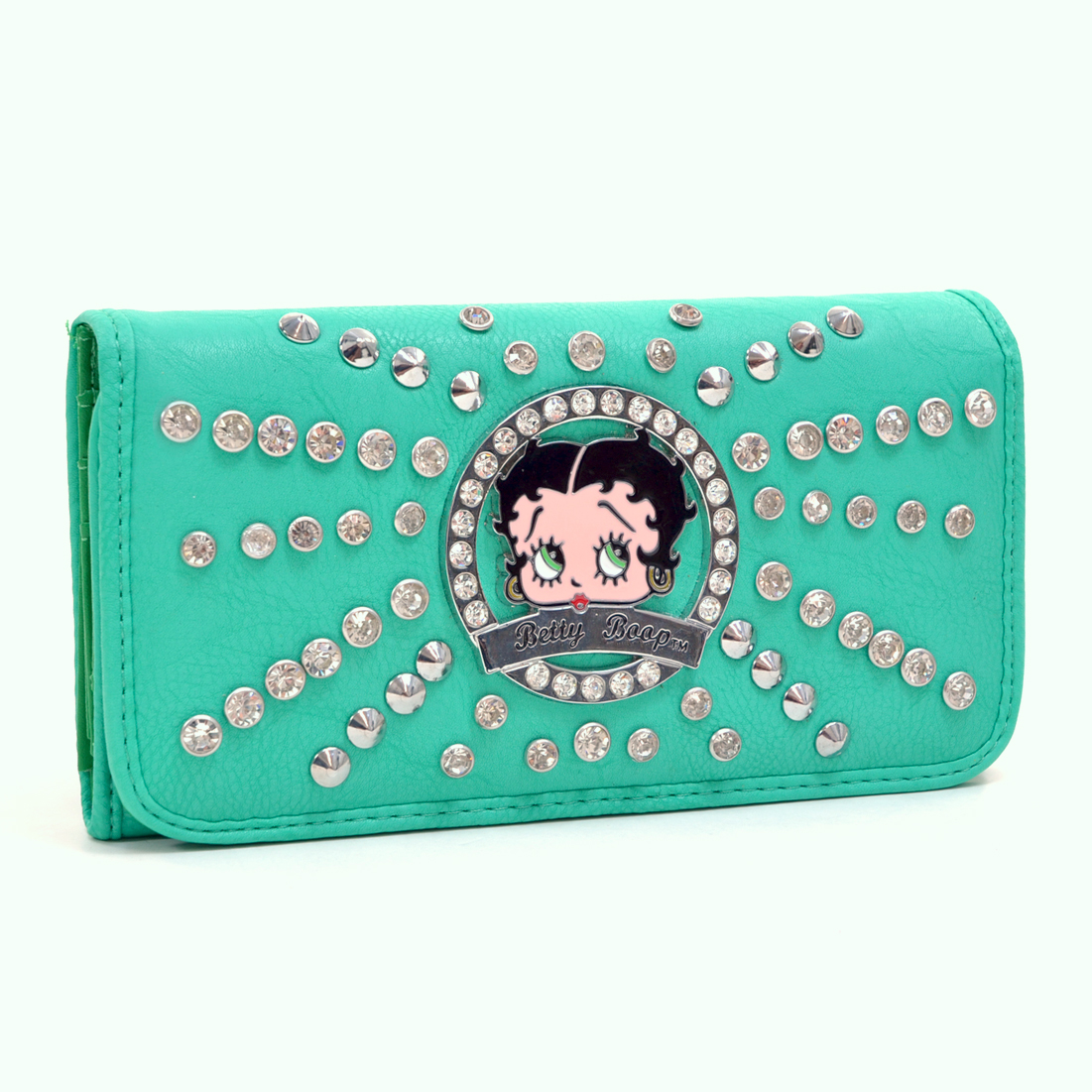 Betty Boop® Rhinestone and Silver Tone Studs Starburst Accent Tri Fold Wallet