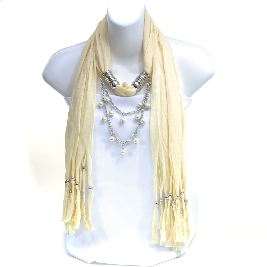 Metal Spikes and Wooden Beads Continuous Loop Scarf