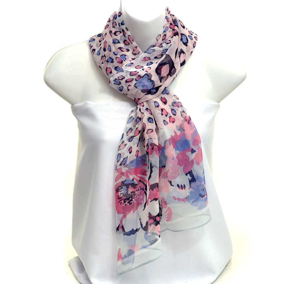 Leopard Floral Print Light Weight Scarf