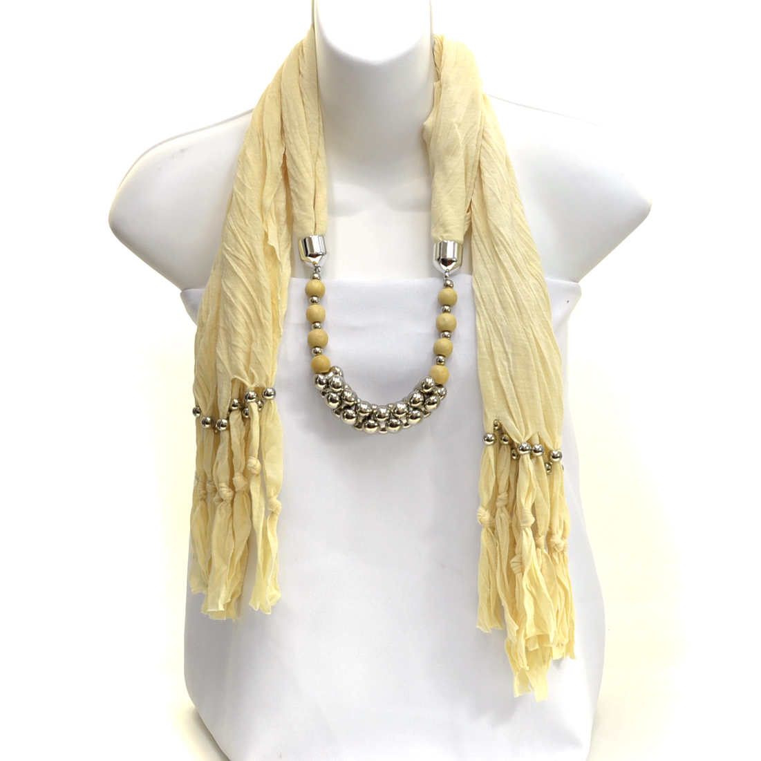 Interlocking Silver Tone and Wood Texture Beads with Beaded Fringe