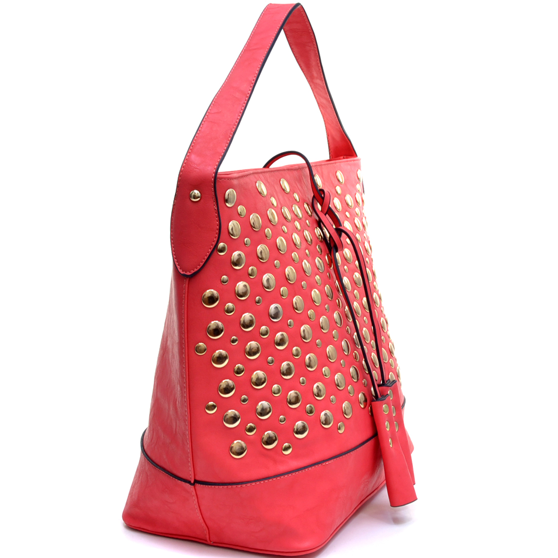 Tassel Droplet Studded Tote Bag With Flat Bottom Design