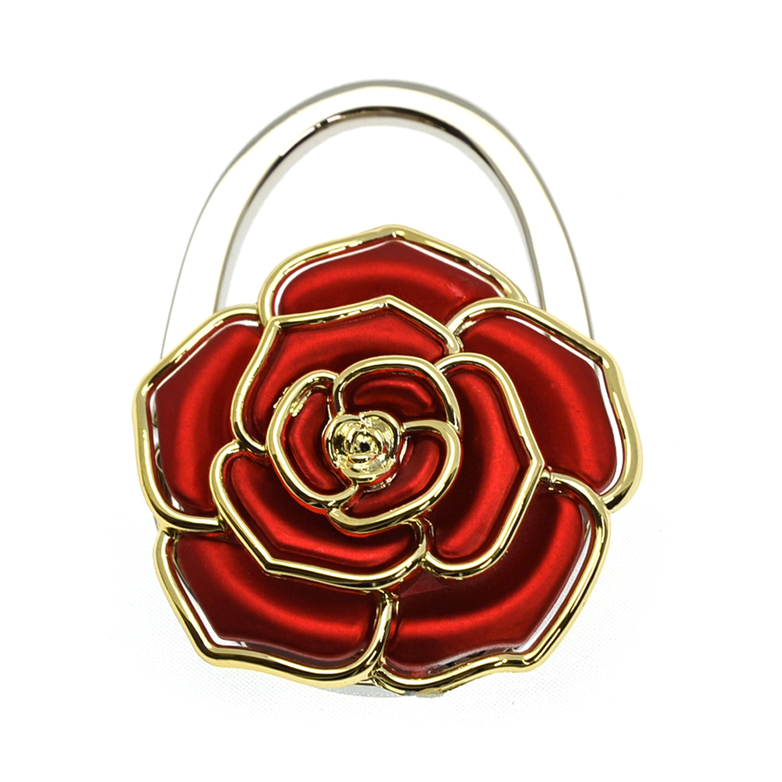 Foldable Gold Tone Accent Rose Purse Hanger