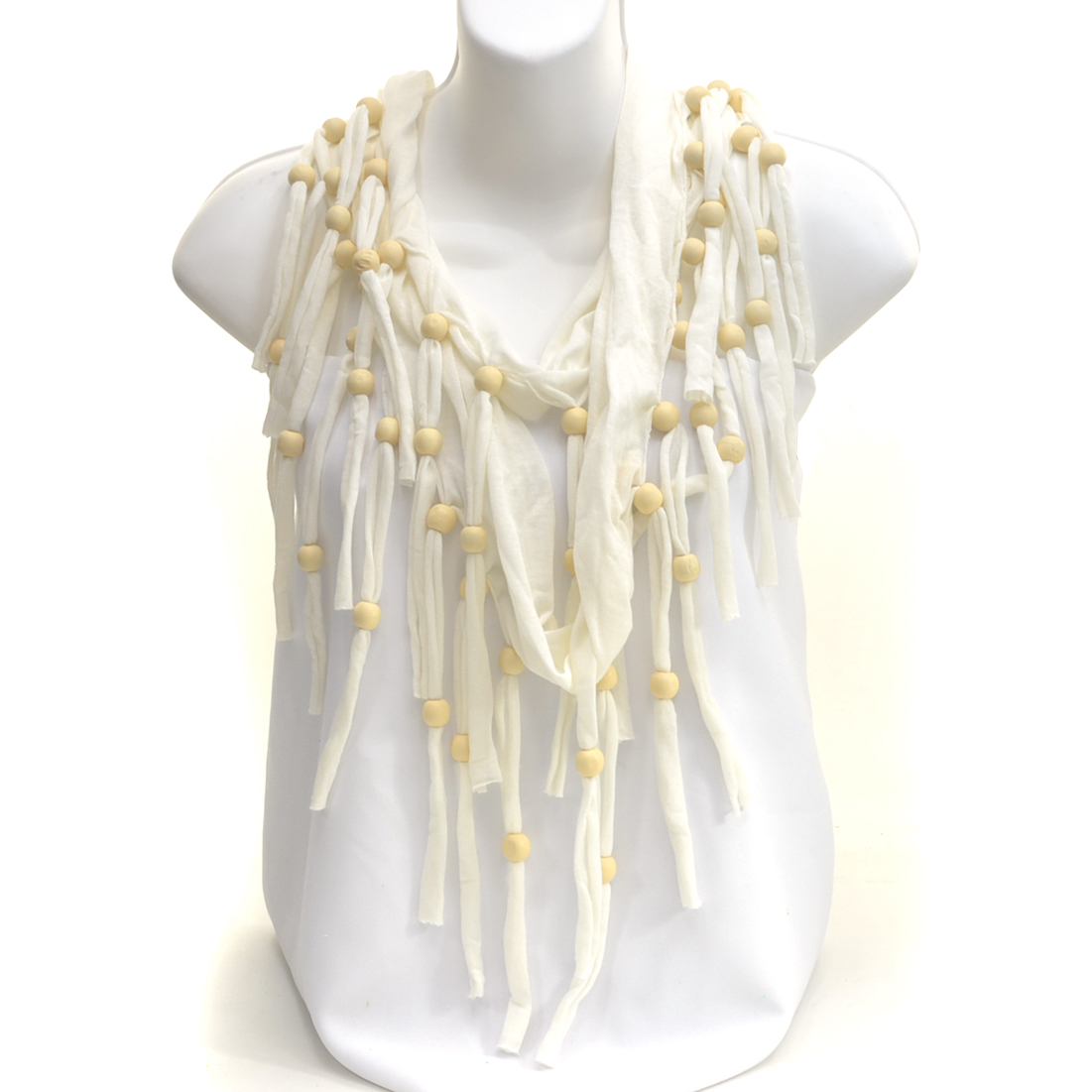 Macrame Wood Beaded Fringe Cntinuous Loop Infinity Scarf