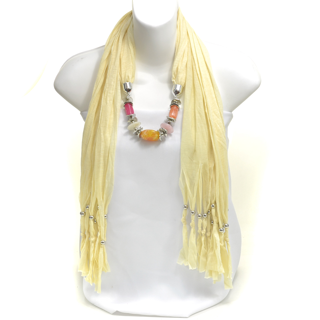 Abstract  Silver Tone Bead Milky Quartz Inspired Fringe Pendant Necklace Scarf