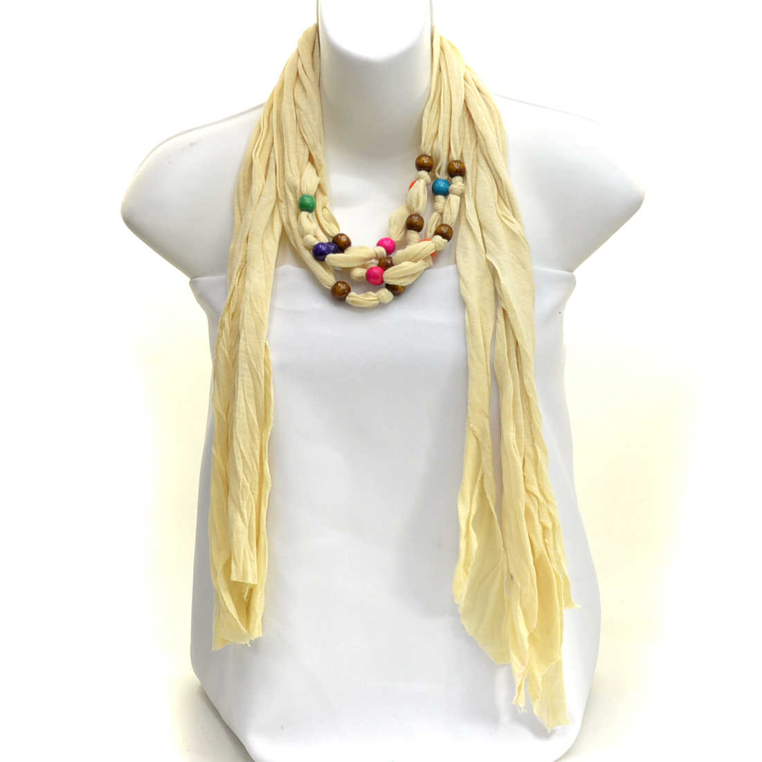 Wood Beads and Fringe Lightweight Spring Scarf