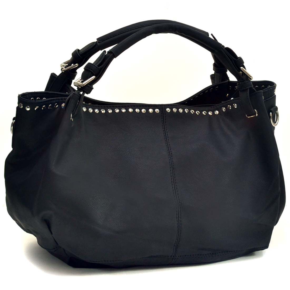 Studded Baguette Soft Faux Tote with Buckle Straps