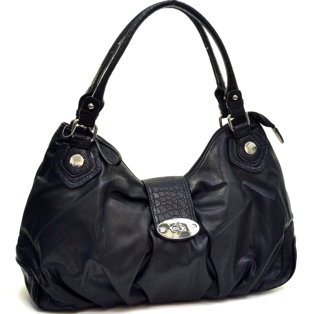 Dasein Two-Tone Shoulder Bag with Front Turnlock-Black