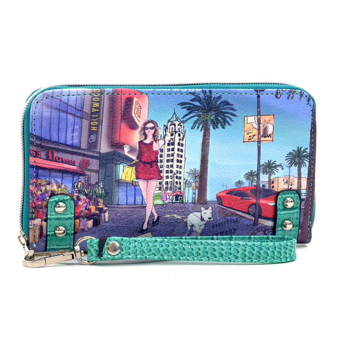 Studded Zip Around International Print Hollywood Wallet - Wrist Strap