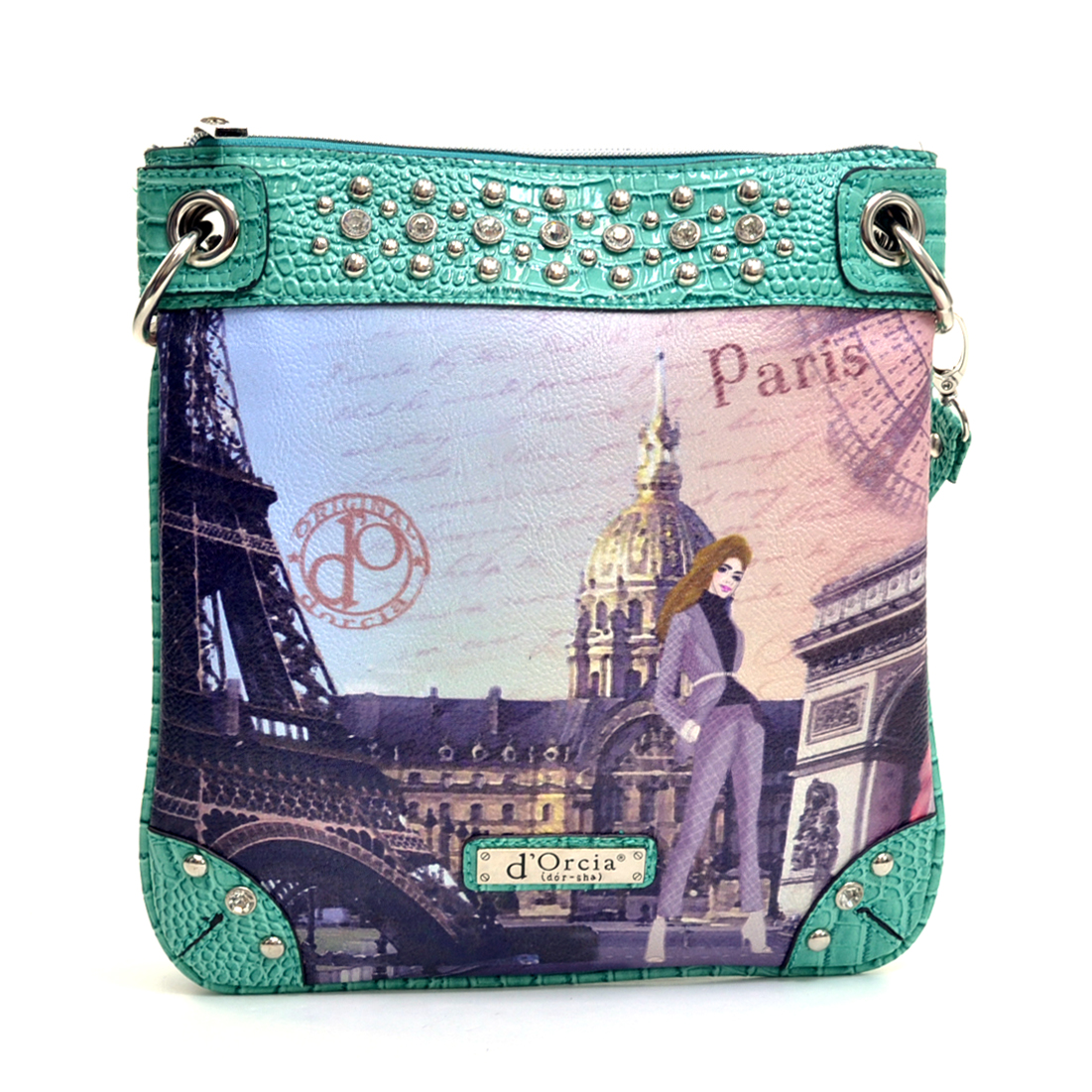 Rhinestone Studded Adjustable Strap Faux Croc Paris Print Messenger Bag