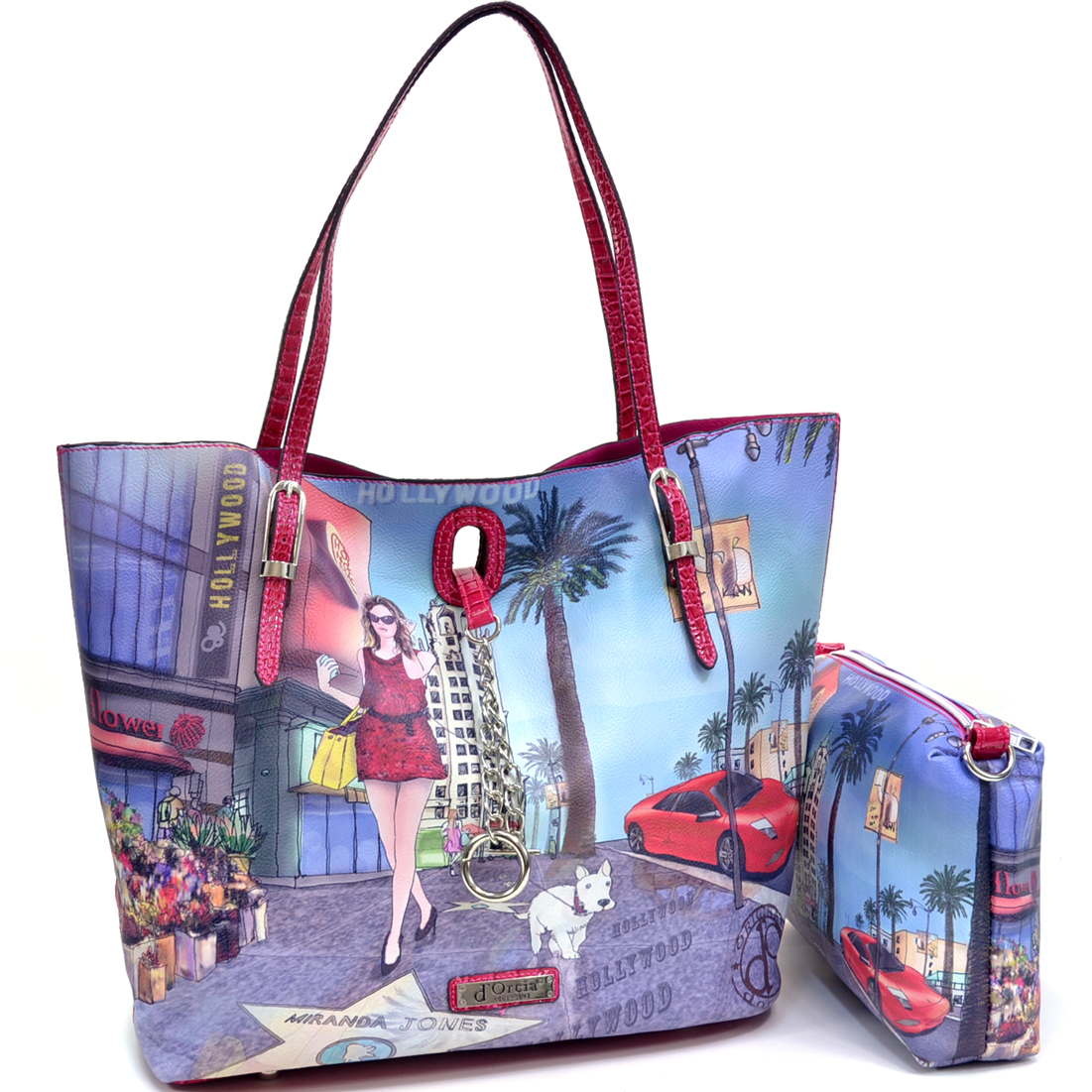 2 in 1 Hollywood Print Flat Bottom Tote w/Buckle Straps and Chain Lock