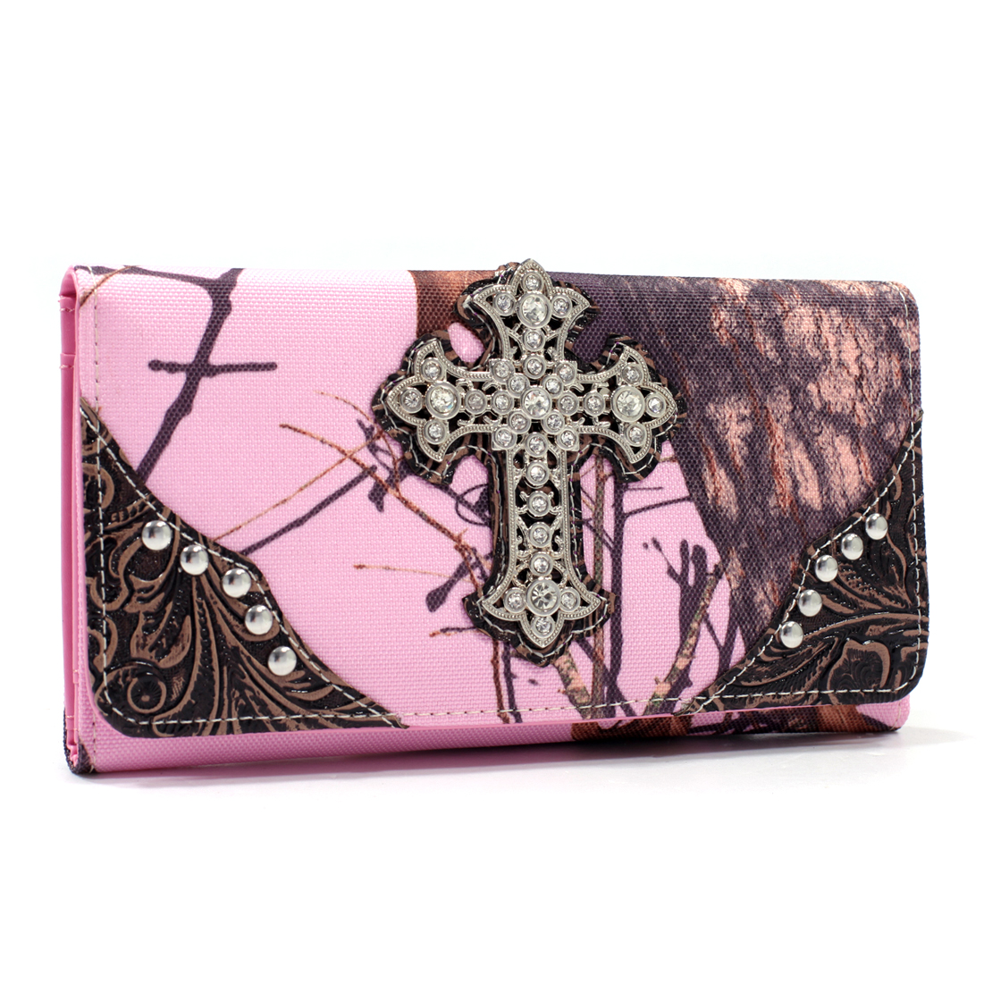 Mossy Oak® Rhinestone Studded Cross w/Tooled Faux Leather Tri Fold Wallet