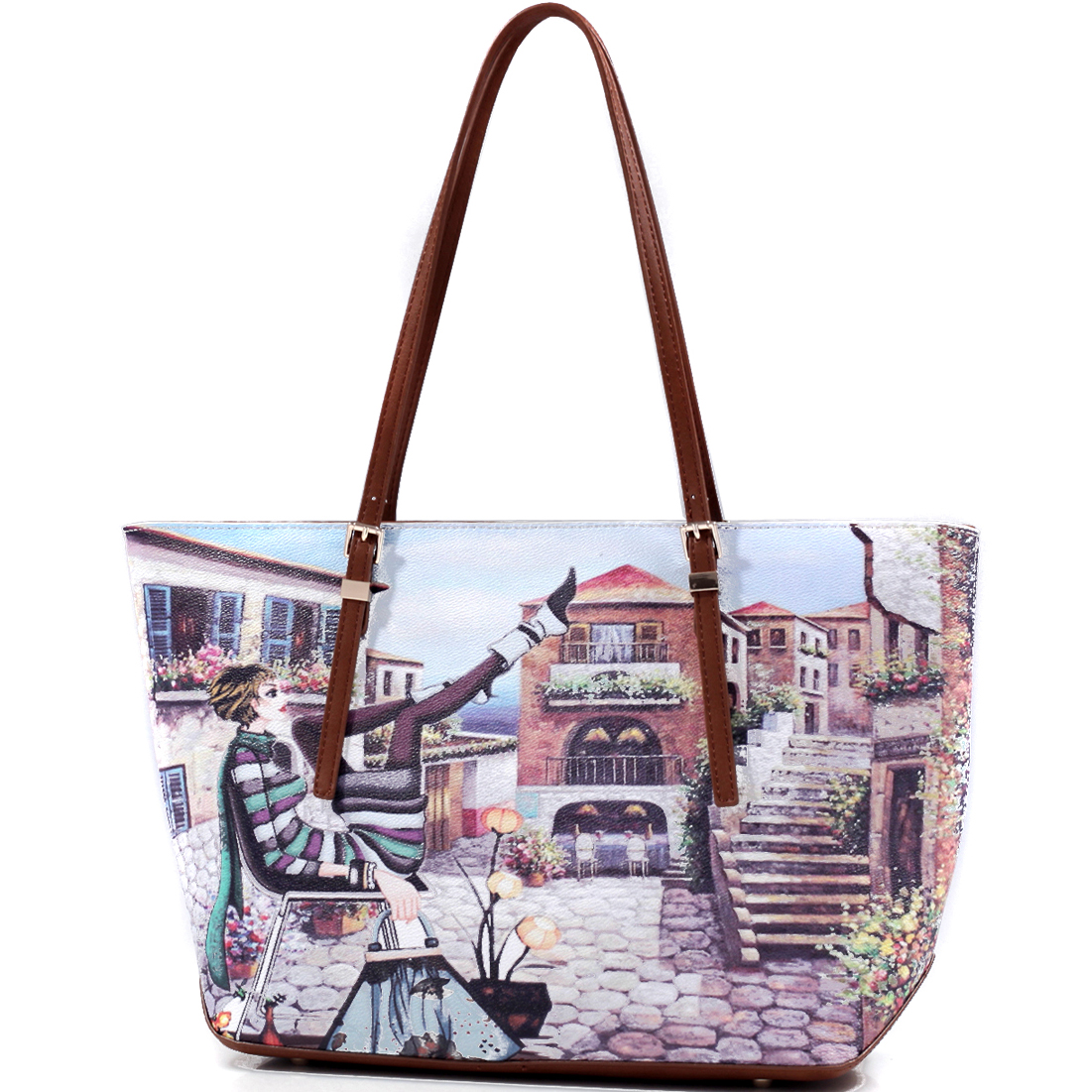 Summer Print Flat Bottom Tote Bag