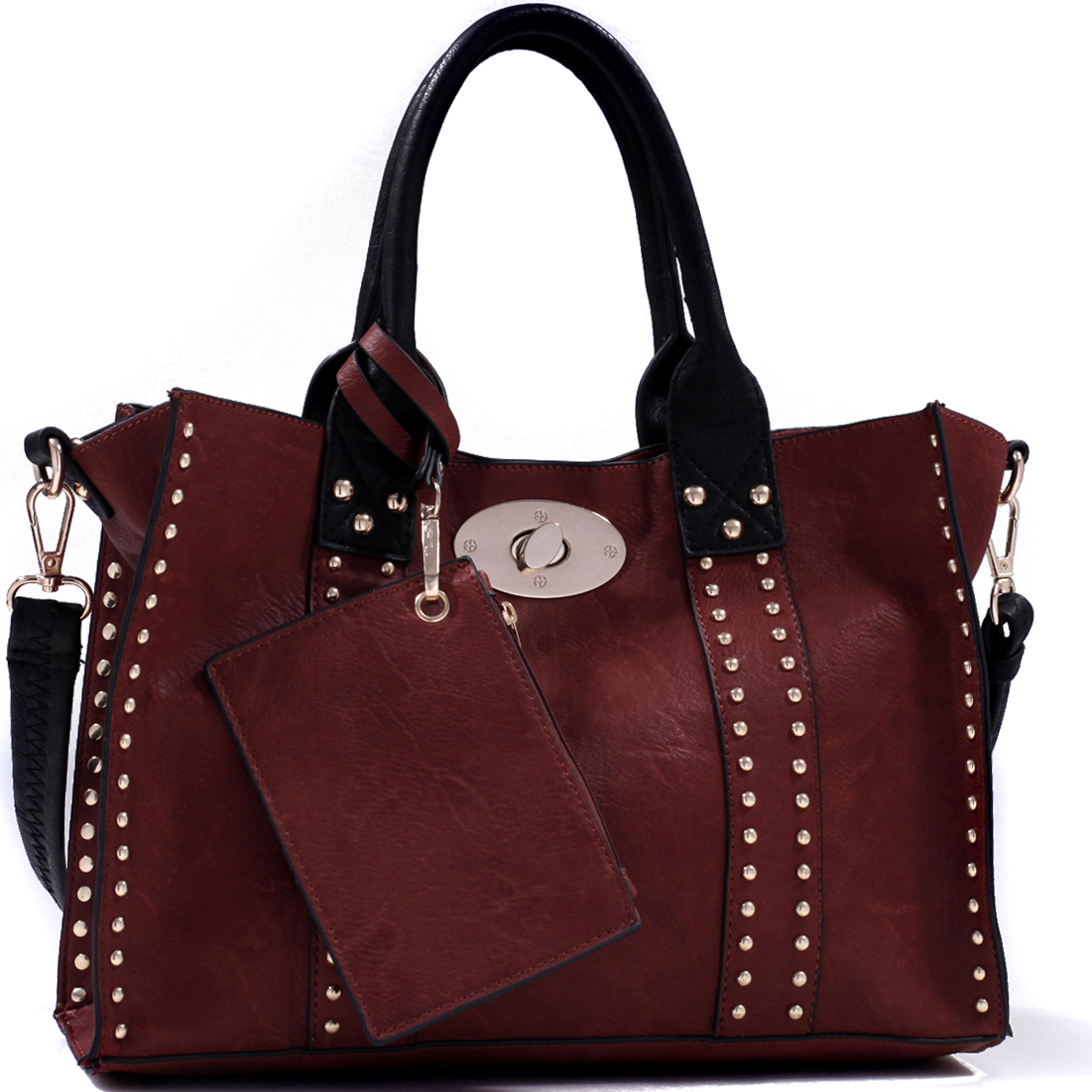 Studded 3 in 1 Twist Lock Tote Bag w/Cross Body bag and Change Purse