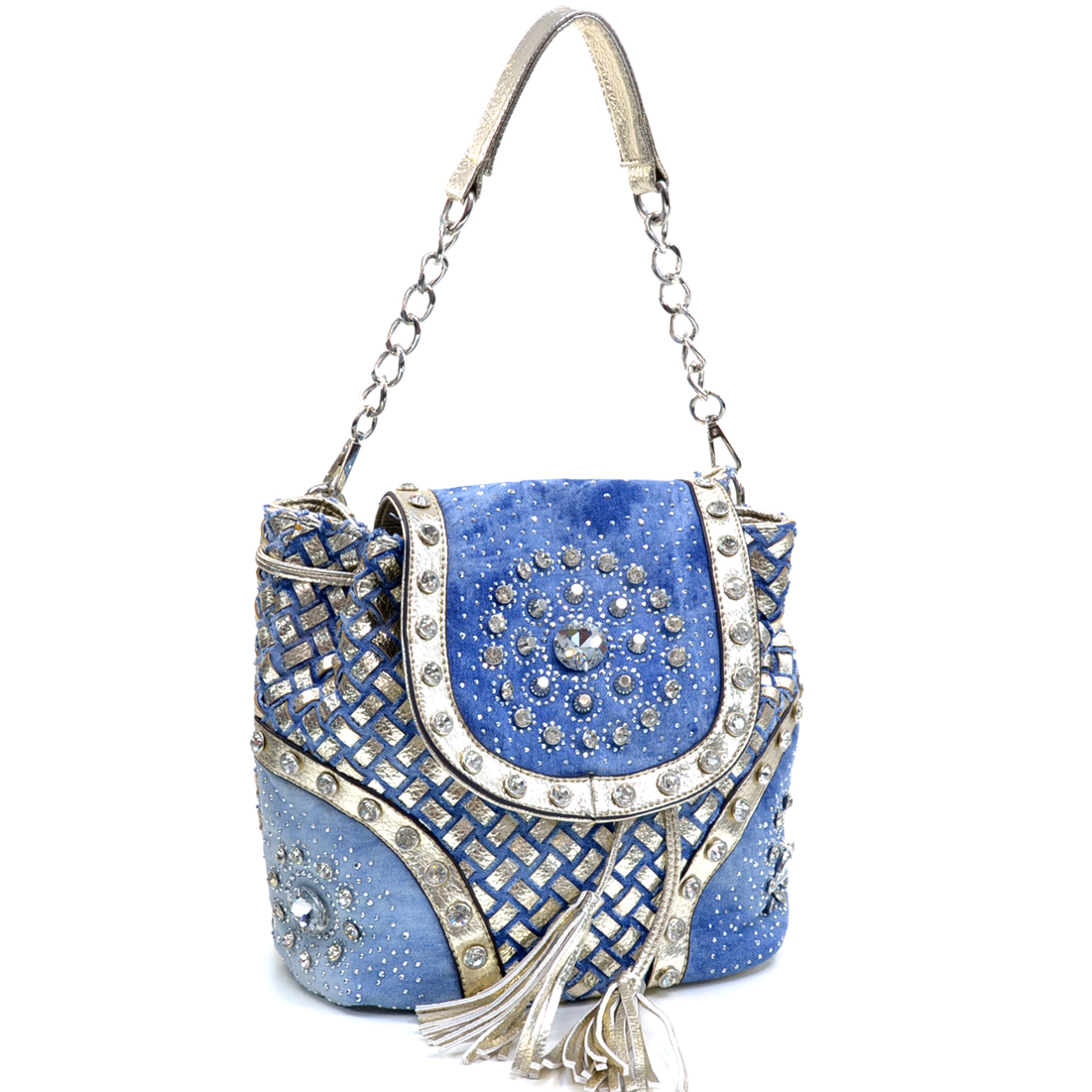 Rhinestone Studded Woven Denim Shoulder Bag/Backpack w/Flat Bottom