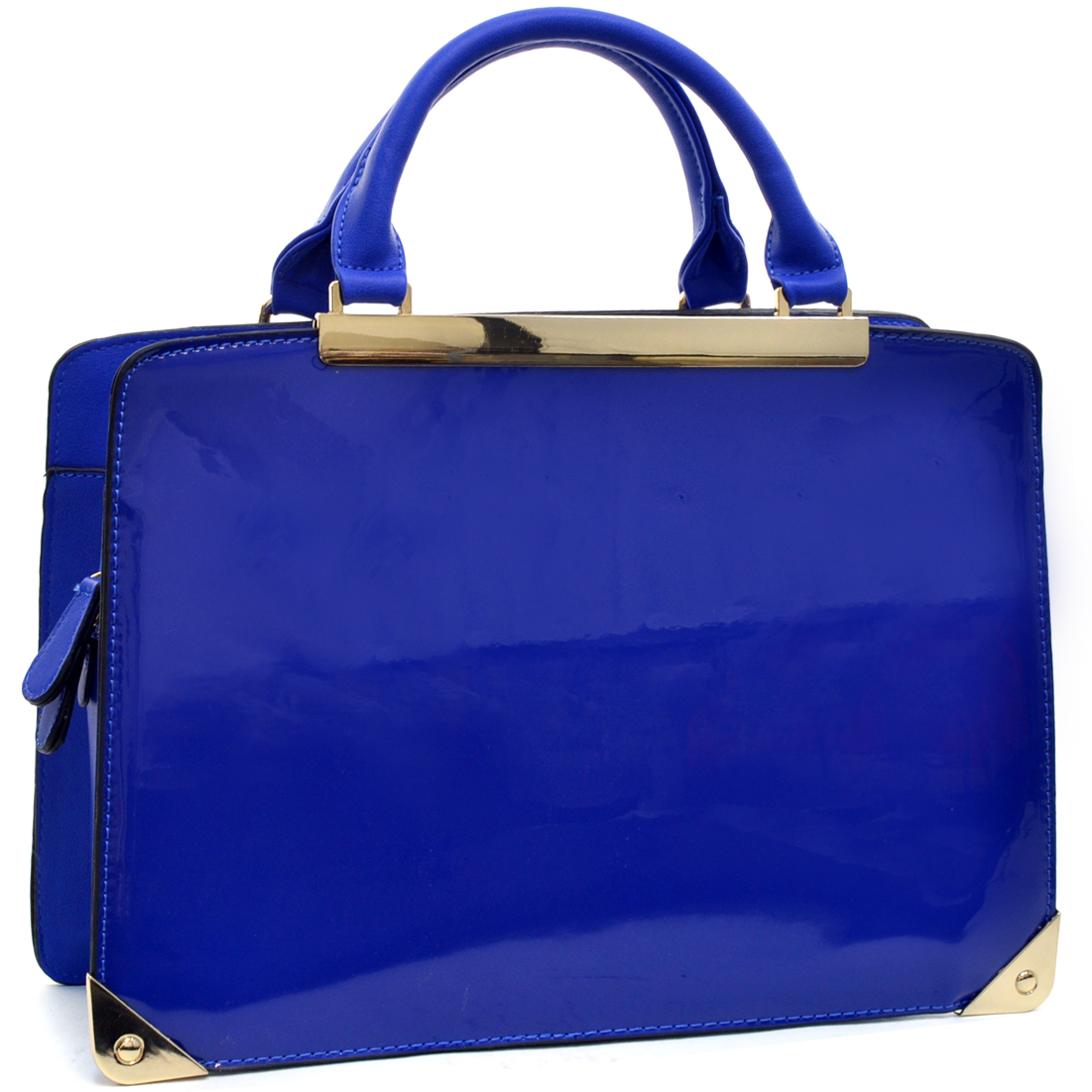 Faux Patent Zip Around Briefcase Bag w/Removable Shoulder Strap
