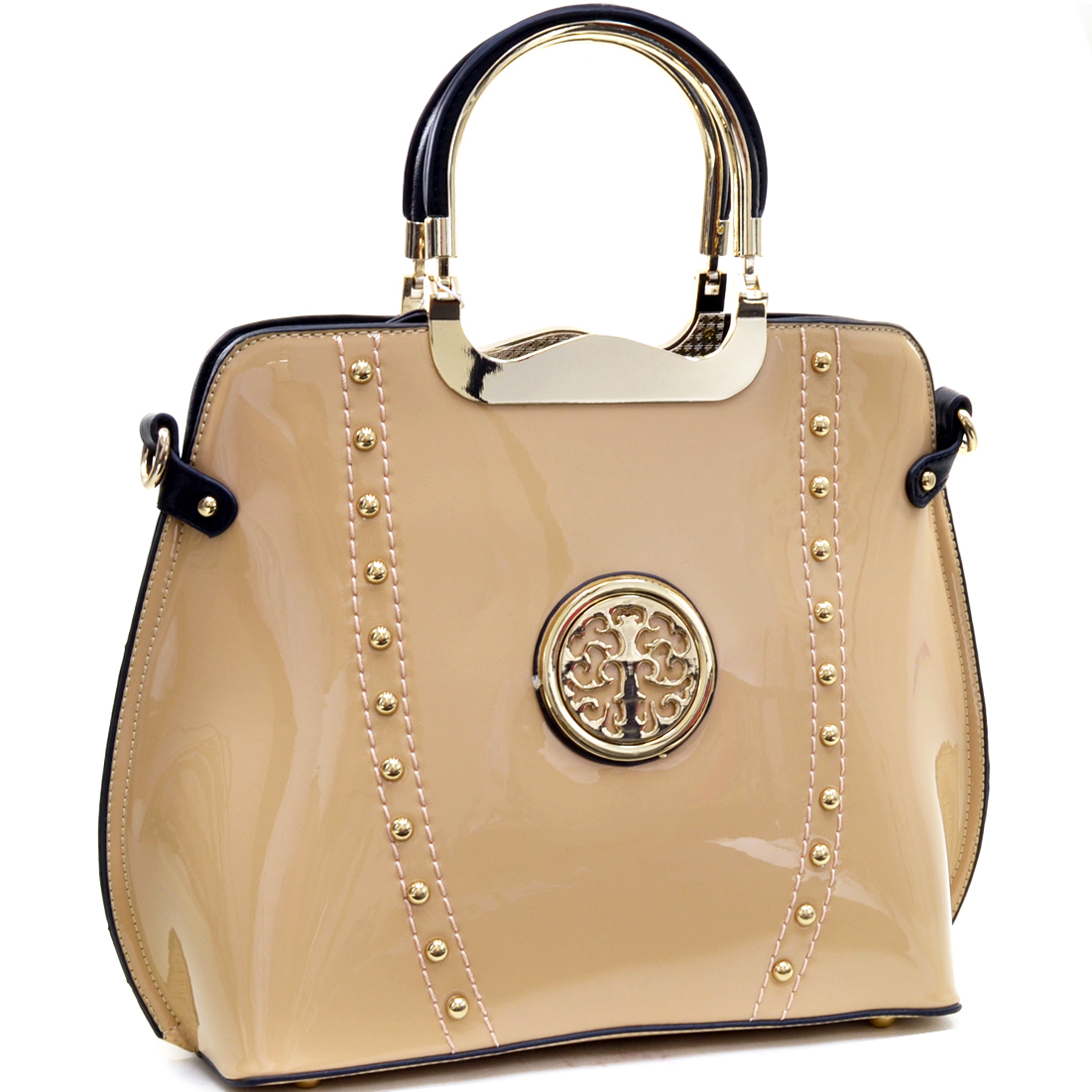 Gold Tone Studded Patent Metal Handle Flat Bottom Emblem Bag