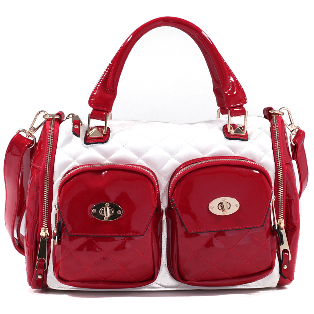 Quilted Patent Twist Lock Bag with Adjustable Removable Shoulder Strap