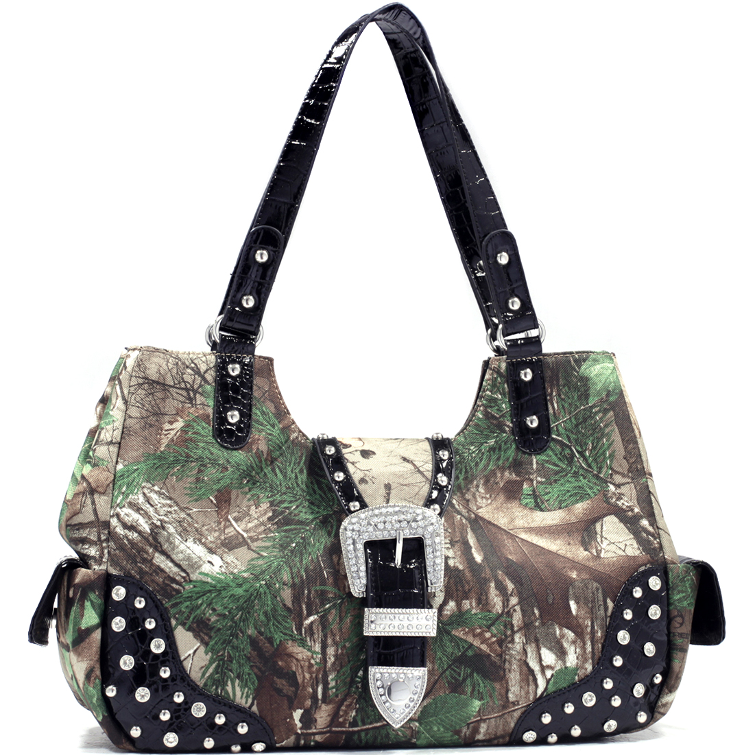 Dasein® Camouflage Studded Shoulder Bag With Buckle Rhinestone in Realtree Camo