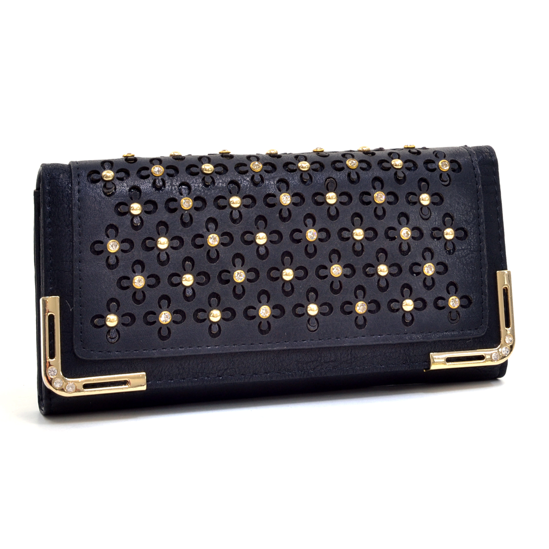 Rhinestone Studded Tri Fold Flower Wallet w/Removable Shoulder Strap