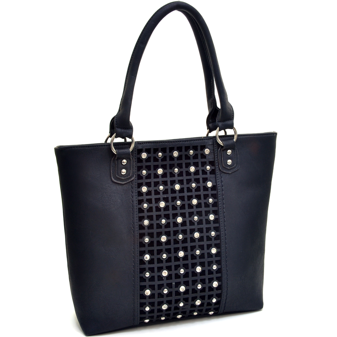 Rhinestone Studded Matrix Pattern Tote with Removable Shoulder Strap
