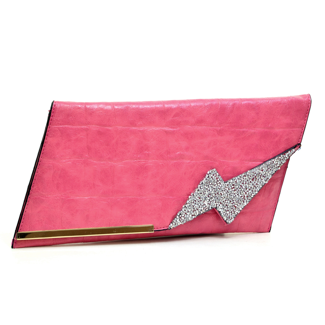 Rhinestone Accented Faux Croc Clutch w/Removable Chain Strap