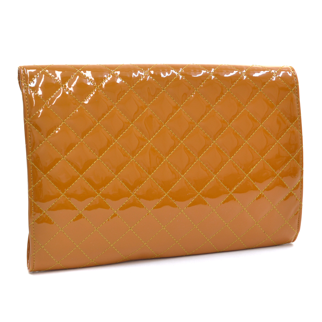 Fold Over Quilted Patent Clutch with Removable Shoulder Strap