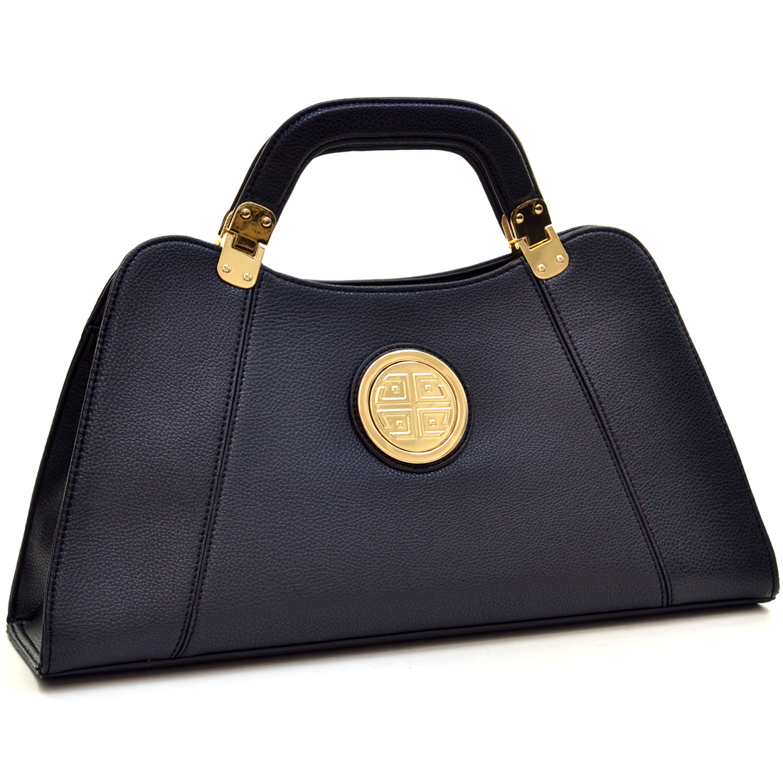 Dasein® Emblem Flat Bottom A-Symmetrical Handbag with Removable Shoulder Strap
