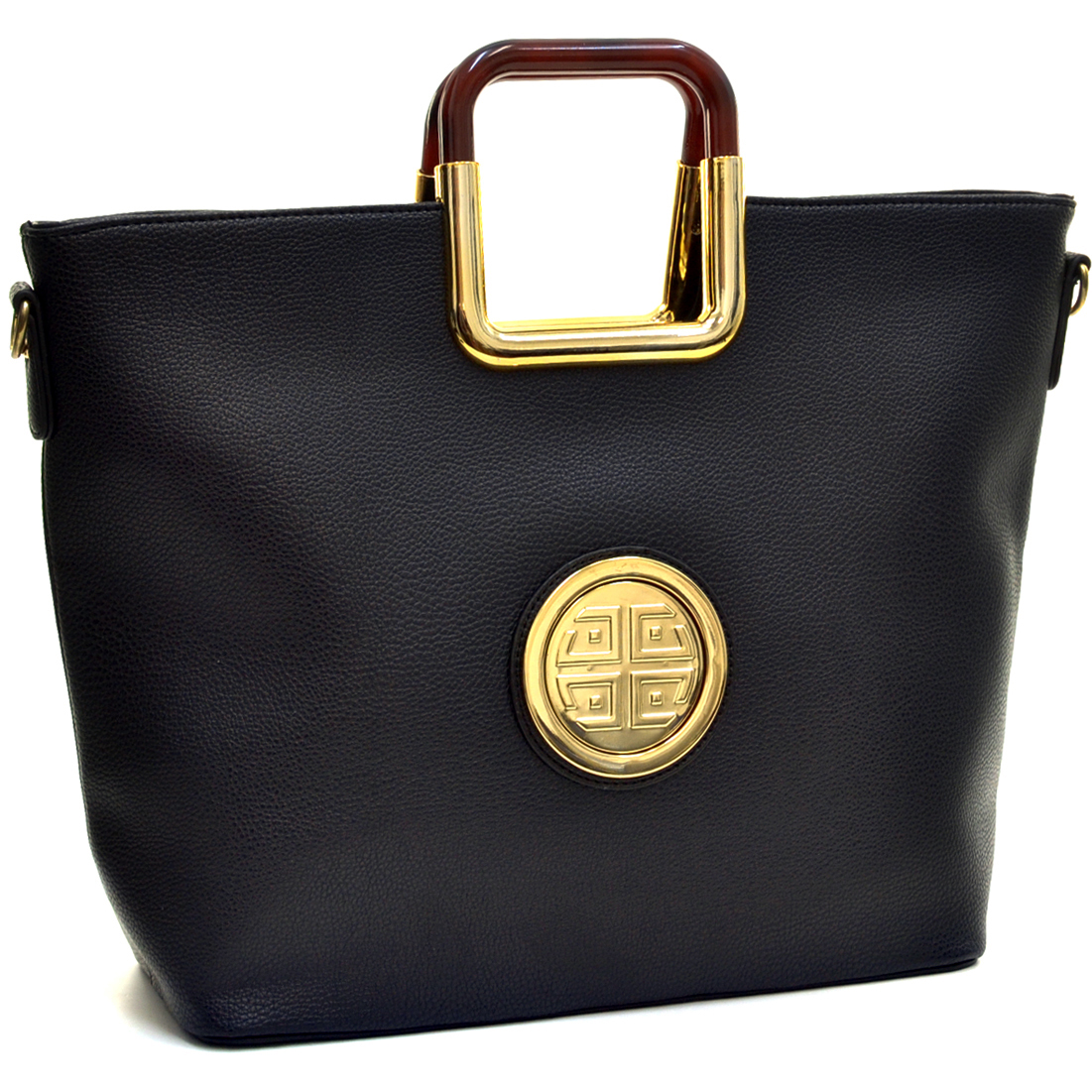 Dasein® Flat Bottom Square Handle Emblem Tote w/Removable Shoulder Strap