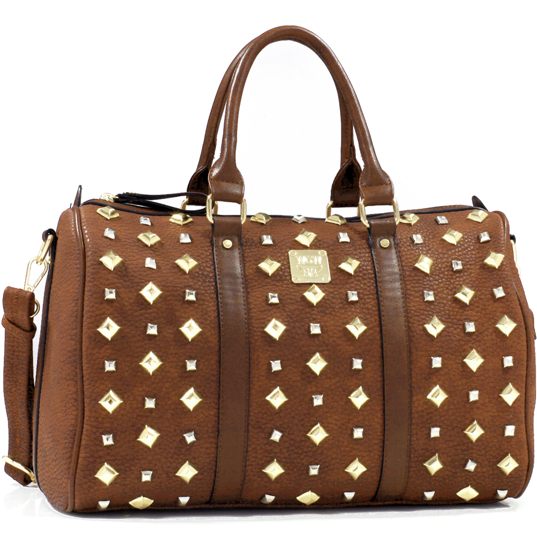 Wow! Faux Leather Flat Bottom Pyramid Studded Tote with Removable Shoulder Strap