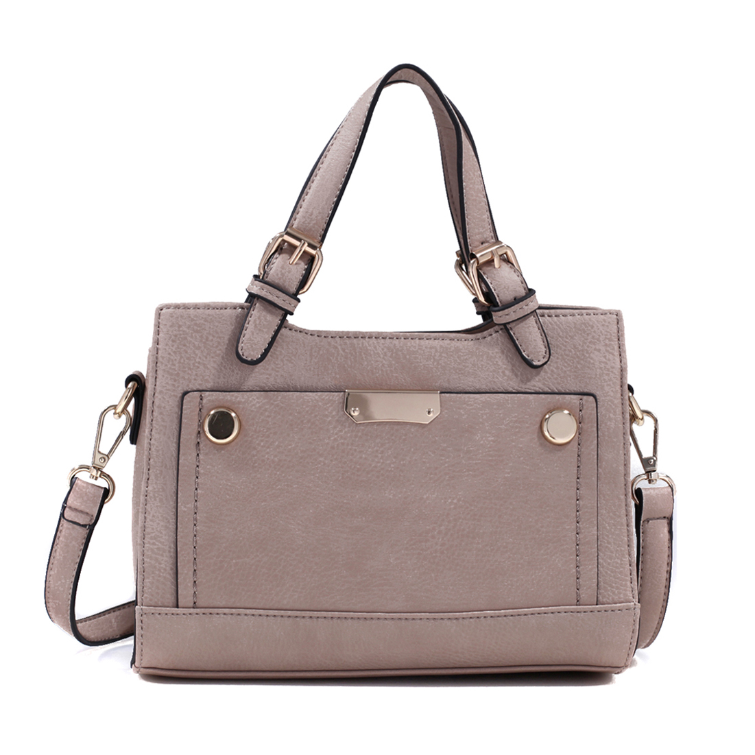 Faux Leather Mini Satchel with Buckle Straps and Removable, Adjustable Shoulder Strap