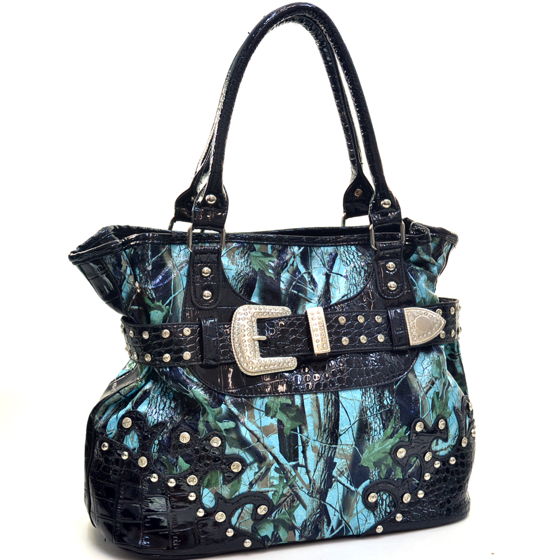 Faux Patent Camo Rhinestone Buckle Hand Bag