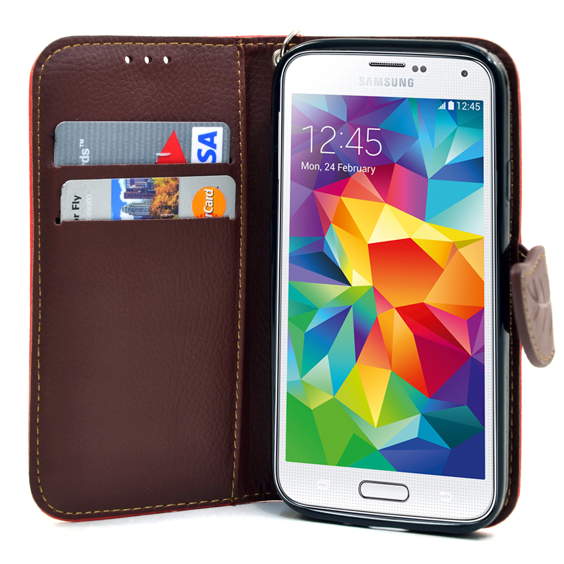 Dasein® Faux Leather Leaf Design Phone Case for Samsung Galaxy S5