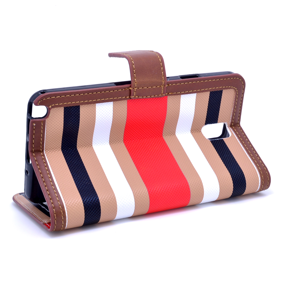 Dasein® Striped Phone Case for Samsung Note3-Khaki/Red
